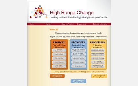 Screenshot of Services Page highrangechange.com - High Range Change - Services - captured Dec. 10, 2015