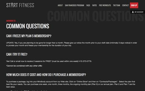 Screenshot of FAQ Page startfitness.com - Start Fitness - captured Sept. 30, 2014