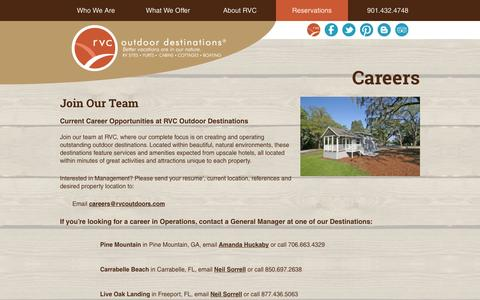 Screenshot of Jobs Page rvcoutdoors.com - Careers - RVC Outdoor Destinations - captured Sept. 19, 2014