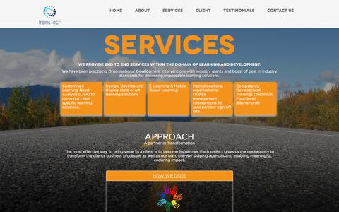 Screenshot of Services Page trainstech.in - SERVICES - captured Oct. 17, 2017