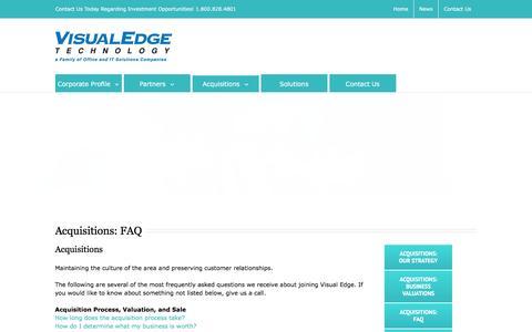 Screenshot of FAQ Page visualedgetechnology.com - Acquisitions FAQ - Visual Edge Technology - captured Feb. 21, 2016