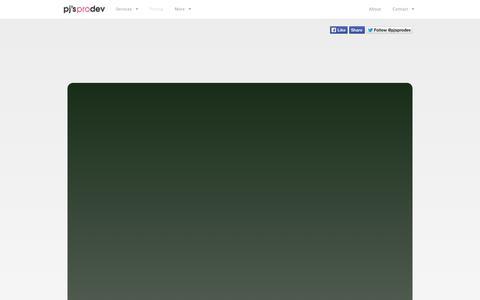 Screenshot of Pricing Page pjsprodev.com - Pricing - PJ's ProDev - captured Sept. 26, 2014