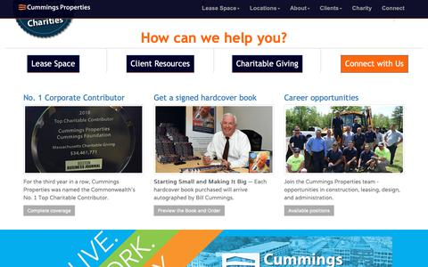 Screenshot of Home Page Locations Page cummings.com - Greater Boston Commercial Real Estate for Lease | Cummings Properties - captured Nov. 5, 2018