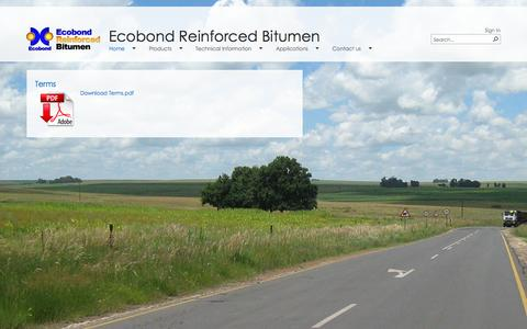 Screenshot of Terms Page ecobond.co.za - Terms - captured Oct. 26, 2014
