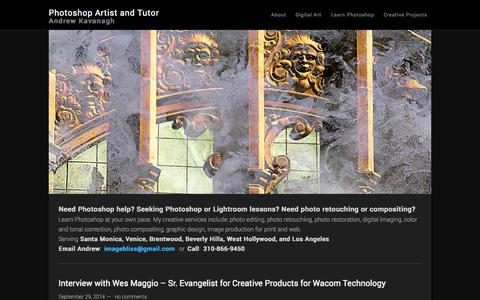 Screenshot of Home Page andrewkavanagh.com - Photoshop | Photo Editor | Photoshop Help | Los Angeles - captured Oct. 2, 2014
