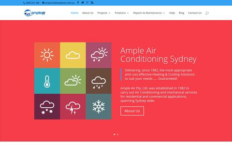 Screenshot of Home Page ampleair.com.au - Ample Air Conditioning Sydney | Heating & Cooling Sales, Installation, Service & Repair - captured Feb. 6, 2016