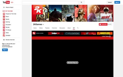 Screenshot of YouTube Page youtube.com - 2KGames  - YouTube - captured Oct. 30, 2014