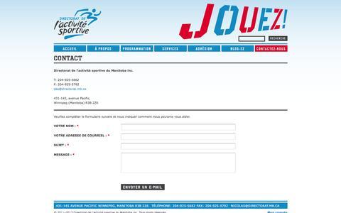 Screenshot of Contact Page directorat.mb.ca - Contact | Directorat de l'activité sportive - captured May 25, 2016