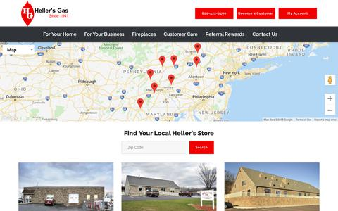 Screenshot of Contact Page Locations Page hellersgas.com - Contact Us | Heller's Gas - captured Oct. 22, 2018