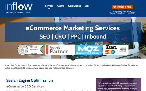 Screenshot of Services Page goinflow.com - eCommerce Marketing Services by Inflow: SEO | PPC | CRO | Inbound - captured Oct. 13, 2016