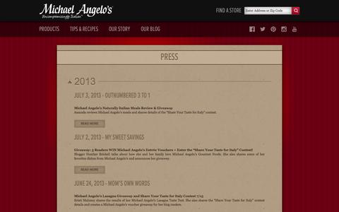 Screenshot of Press Page michaelangelos.com - Read What's Going On With Our Frozen Italian Meals | Michael Angelo's Foods - captured Oct. 27, 2014
