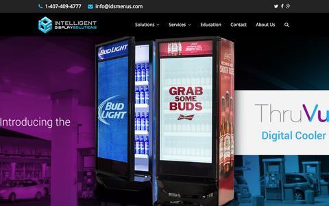 Screenshot of Home Page idsmenus.com - Digital Drive Thru Menu Boards & Outdoor Signage - LED Video Walls - captured Aug. 2, 2015