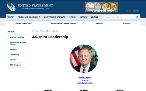 Screenshot of Team Page usmint.gov - U.S Mint Leadership | U.S. Mint - captured March 19, 2019