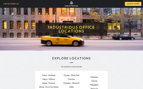 Screenshot of Locations Page industriousoffice.com - Industrious Office Locations | Industrious Office - captured Oct. 11, 2018