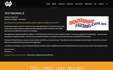 Screenshot of Testimonials Page permanentpotholesolutions.com.au - Testimonials | - captured Nov. 4, 2018