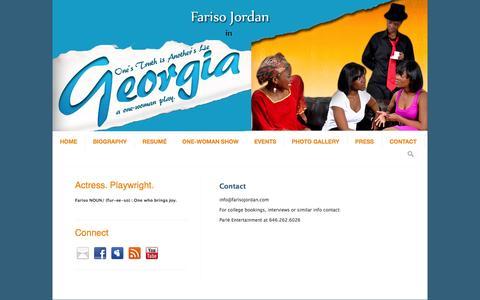 Screenshot of Contact Page farisojordan.com - Fariso Jordan, Contact - captured Sept. 30, 2014