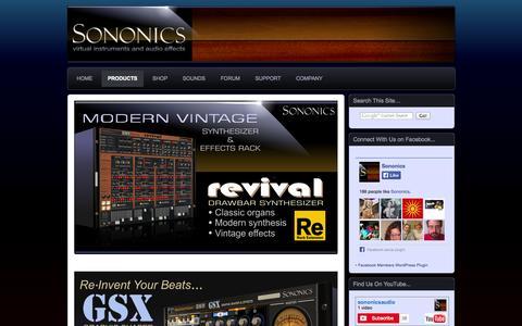Screenshot of Products Page sononics.com - » Products Sononics - captured Oct. 7, 2014