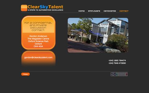 Screenshot of Contact Page clearskytalent.com - Contact - ClearSky - captured Oct. 28, 2014