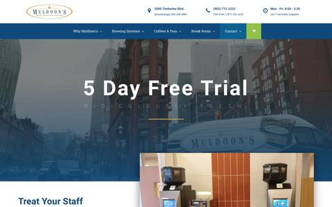 Screenshot of Trial Page muldoonscoffee.com - Start Your Free Trial Today! - Muldoon's Coffee | Ridiculously Fresh - captured Sept. 20, 2018