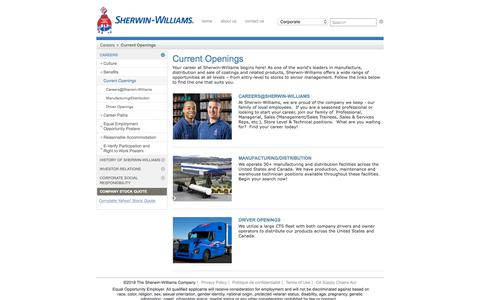 Screenshot of Jobs Page sherwin-williams.com - Current Openings - Sherwin-Williams - captured Sept. 22, 2018
