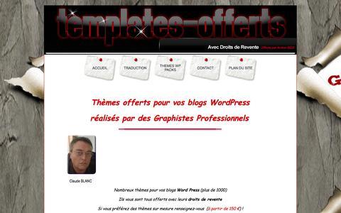 Screenshot of Home Page templates-offerts.com - Themes Offerts WP avec Droits de Revente - Accueil - captured Jan. 28, 2015