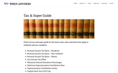 Screenshot of Press Page wrenadvisers.com.au - Tax and super guide - captured Oct. 31, 2018