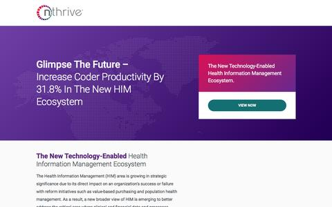 Screenshot of Landing Page nthrive.com - The New Era of Health Information Management | nThrive - captured Nov. 4, 2016