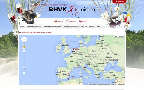 Screenshot of Maps & Directions Page bhvkleisure.com - Bekijk onze accommodaties op de kaart - captured Sept. 30, 2014