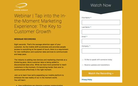 Webinar | Tap into the In-the-Moment Marketing Experience: The Key to Customer Growth PST
