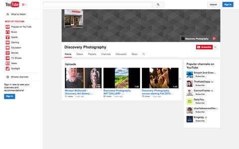 Screenshot of YouTube Page youtube.com - Discovery Photography  - YouTube - captured Oct. 23, 2014