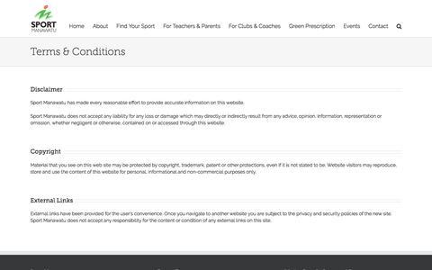 Screenshot of Terms Page sportmanawatu.org.nz - Terms & Conditions – Sport Manawatu - captured Aug. 15, 2016