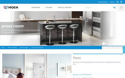 Screenshot of Press Page moen.com - Moen Press Room - captured Aug. 6, 2017