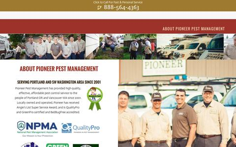 Screenshot of About Page pioneerpest.com - About Pioneer Pest Management in Portland OR & Vancouver WA - captured Nov. 7, 2016