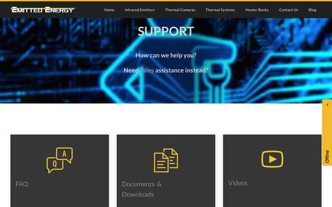 Screenshot of Support Page emittedenergy.com - Support - Emitted Energy - Infrared Thermal Technologies - captured July 18, 2018