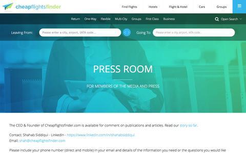Screenshot of Press Page cheapflightsfinder.com - Press Room | Cheapflightsfinder.com - captured July 3, 2016