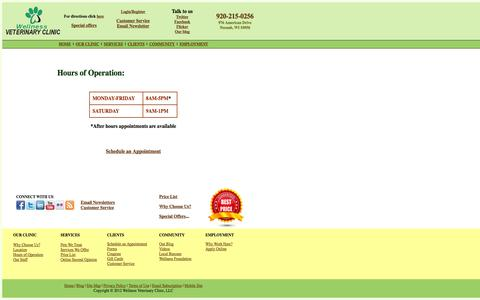 Screenshot of Hours Page wellnessvetclinic.com - Wellness Veterinary Clinic | 976 American Drive | Neenah | Tel: 920-215-0256 - captured Oct. 7, 2014