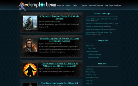Screenshot of Press Page disruptorbeam.com - News | Disruptor Beam - captured July 19, 2014