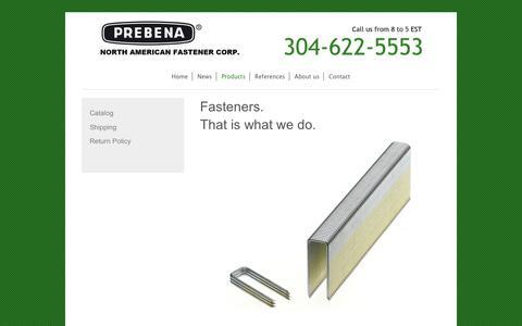 Screenshot of Products Page prebena-usa.com - PREBENA North American Fastener Corp. - Products - captured Sept. 25, 2018