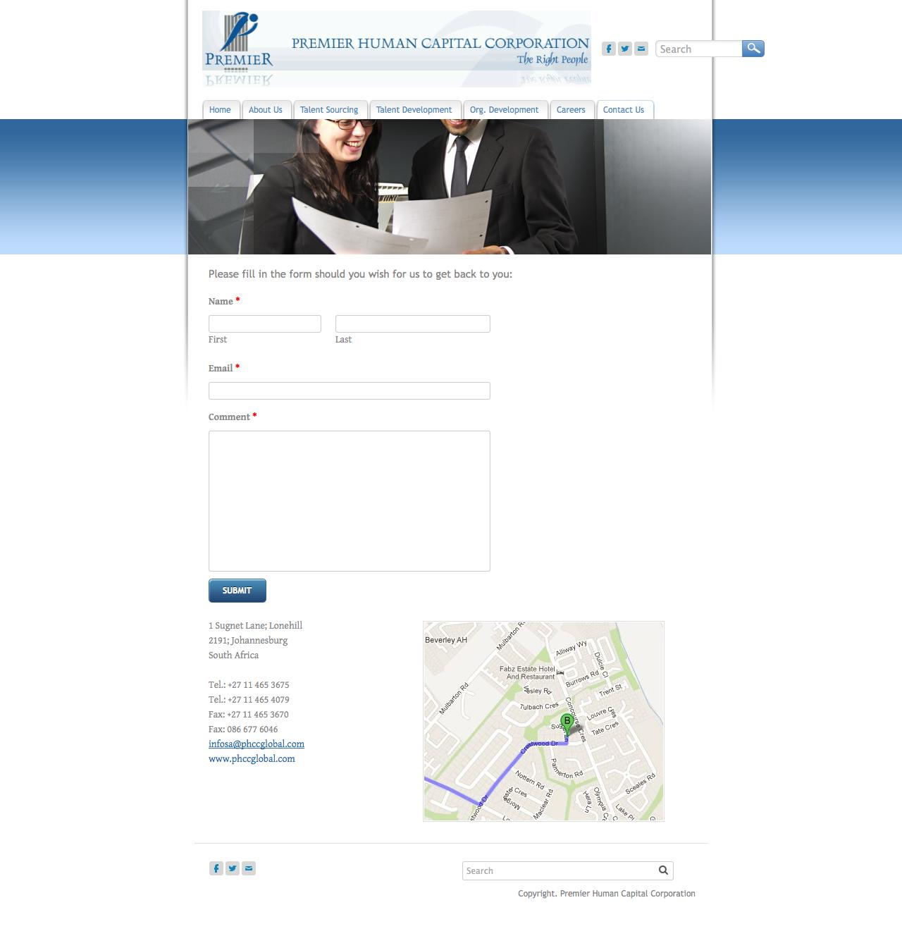 Web Design Example | A page on phccglobal com | Crayon