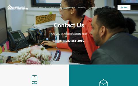 Screenshot of Contact Page cnycn.org - Contact Us - Center for New York City Neighborhoods - captured Sept. 27, 2018