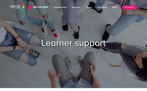 Screenshot of Support Page remit.co.uk - Learner Support – Remit Group - captured Oct. 20, 2018