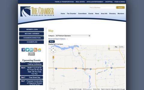 Screenshot of Maps & Directions Page bismarckmandan.com - Map - Bismarck-Mandan Chamber of Commerce - captured Oct. 5, 2014