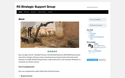 Screenshot of About Page r3ssg.com - About | R3 Strategic Support Group - captured June 20, 2019