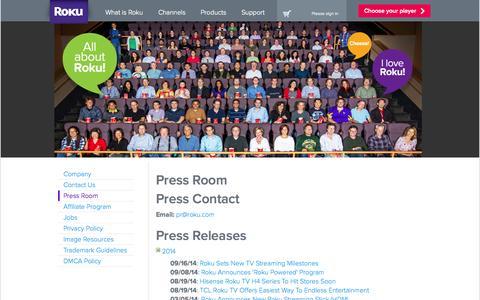 Screenshot of Press Page roku.com - Press Room | Roku Streaming Player - captured Sept. 17, 2014