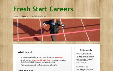 Screenshot of About Page freshstartcareers.com - Who we are - what we do - captured Sept. 30, 2014
