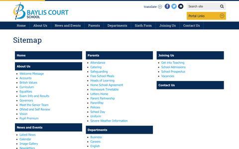 Screenshot of Site Map Page bayliscourt.slough.sch.uk - Sitemap - Baylis Court School - captured Feb. 7, 2016