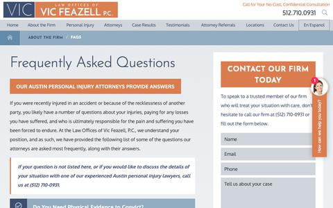 Screenshot of FAQ Page withviclegal.com - FAQs   Austin Personal Injury Lawyers - captured Sept. 27, 2018