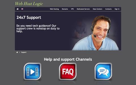 Screenshot of Support Page webhostlogic.com - Support - captured Feb. 23, 2016