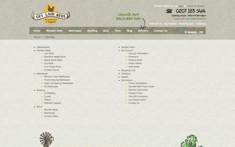 Screenshot of Site Map Page getlaidbeds.co.uk - Site Map - captured Sept. 18, 2014