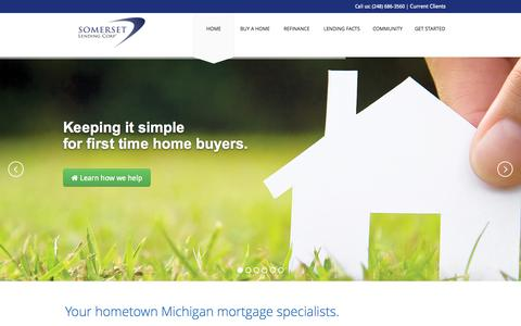 Screenshot of Home Page somersetlending.com - Somerset Lending Corp - Your Michigan Mortgage Lender - captured Oct. 9, 2014